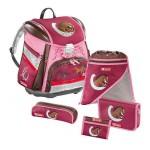 Ранец школьный Hama Galloping Horse TOUCH L.E.D. с аксессуарами 5 предметов бордовый/розовый