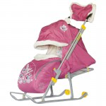 Санки-коляска Ника Снегири (розовые)