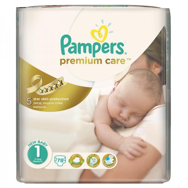 Подгузники Pampers Premium Care 1 (2-5 кг) 78 шт.: цена 825 руб