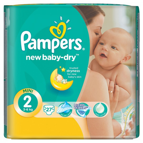Подгузники Pampers New Baby 2 (3-6 кг) 27 шт.: цена 359 руб